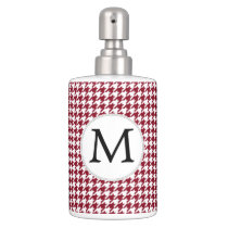 Personalized Monogram Burgundy Houndstooth Pattern Soap Dispenser And Toothbrush Holder
