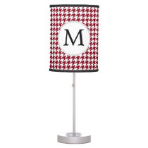 Personalized Monogram Burgundy Houndstooth Pattern Table Lamp