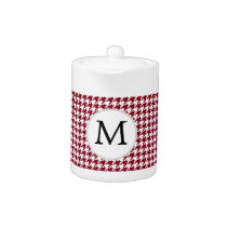 Personalized Monogram Burgundy Houndstooth Pattern Teapot