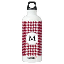 Personalized Monogram Burgundy Houndstooth Pattern Water Bottle