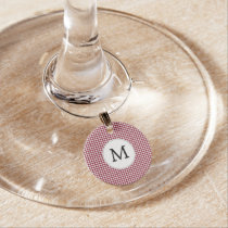 Personalized Monogram Burgundy Houndstooth Pattern Wine Charm