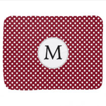 Personalized Monogram Burgundy Polka Dots Pattern Baby Blanket