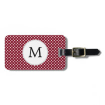 Personalized Monogram Burgundy Polka Dots Pattern Bag Tag