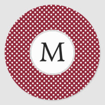 Personalized Monogram Burgundy Polka Dots Pattern Classic Round Sticker