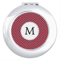 Personalized Monogram Burgundy Polka Dots Pattern Compact Mirror