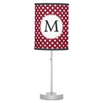 Personalized Monogram Burgundy Polka Dots Pattern Desk Lamp