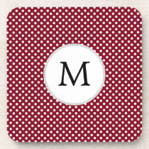 Personalized Monogram Burgundy Polka Dots Pattern Drink Coaster