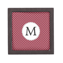 Personalized Monogram Burgundy Polka Dots Pattern Jewelry Box