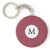 Personalized Monogram Burgundy Polka Dots Pattern Keychain