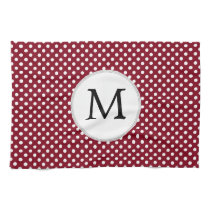 Personalized Monogram Burgundy Polka Dots Pattern Kitchen Towels