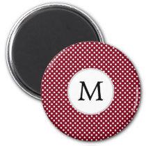 Personalized Monogram Burgundy Polka Dots Pattern Magnet