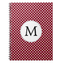 Personalized Monogram Burgundy Polka Dots Pattern Notebook