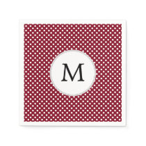 Personalized Monogram Burgundy Polka Dots Pattern Paper Napkin