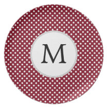 Personalized Monogram Burgundy Polka Dots Pattern Plate