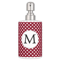 Personalized Monogram Burgundy Polka Dots Pattern Soap Dispenser And Toothbrush Holder