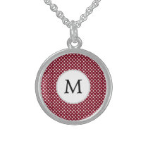 Personalized Monogram Burgundy Polka Dots Pattern Sterling Silver Necklace