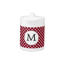 Personalized Monogram Burgundy Polka Dots Pattern Teapot