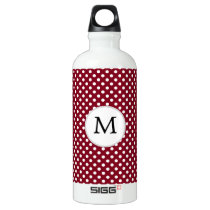 Personalized Monogram Burgundy Polka Dots Pattern Water Bottle