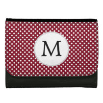 Personalized Monogram Burgundy Polka Dots Pattern Women's Wallet