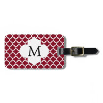 Personalized Monogram Burgundy Quatrefoil Pattern Bag Tag