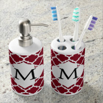 Personalized Monogram Burgundy Quatrefoil Pattern Bath Set