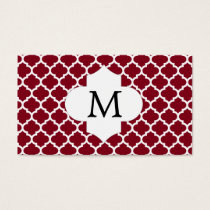 Personalized Monogram Burgundy Quatrefoil Pattern Business Card