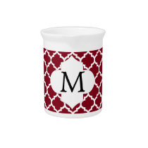 Personalized Monogram Burgundy Quatrefoil Pattern Drink Pitcher