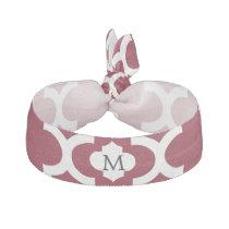Personalized Monogram Burgundy Quatrefoil Pattern Hair Tie