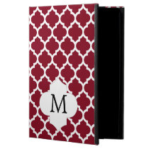 Personalized Monogram Burgundy Quatrefoil Pattern iPad Air Case