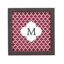 Personalized Monogram Burgundy Quatrefoil Pattern Keepsake Box