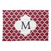 Personalized Monogram Burgundy Quatrefoil Pattern Kitchen Towel