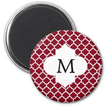 Personalized Monogram Burgundy Quatrefoil Pattern Magnet