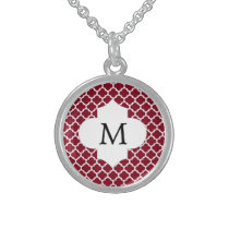 Personalized Monogram Burgundy Quatrefoil Pattern Sterling Silver Necklace