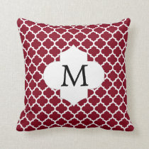 Personalized Monogram Burgundy Quatrefoil Pattern Throw Pillow