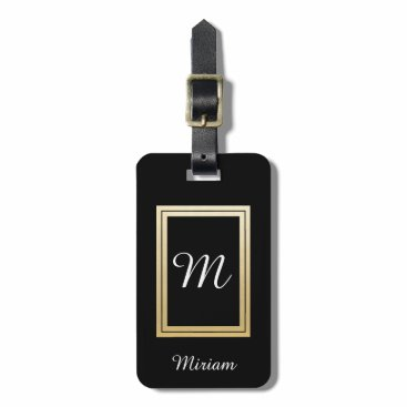 Professional Business Personalized Monogram Business Gold Black Luggage Tag