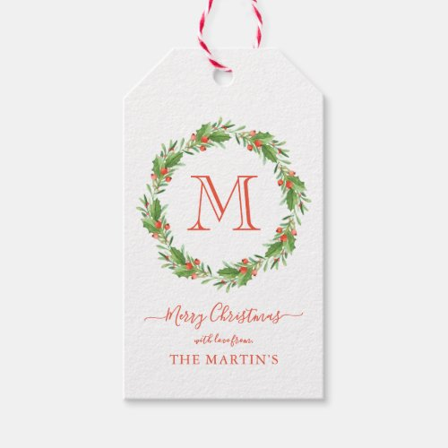 Personalized Monogram Christmas Wreath Gift Tags
