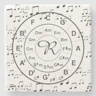 Personalized Monogram Circle of Fifths Music Stone Coaster