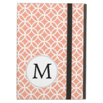 Personalized Monogram Coral Double Rings pattern Cover For iPad Air