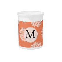 Personalized Monogram Coral Floral Pattern Beverage Pitcher