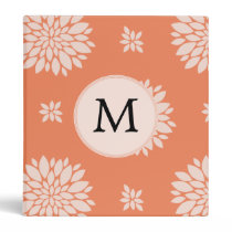 Personalized Monogram Coral Floral Pattern Binder