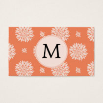 Personalized Monogram Coral Floral Pattern Business Card