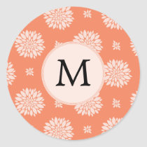 Personalized Monogram Coral Floral Pattern Classic Round Sticker