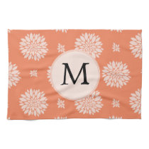 Personalized Monogram Coral Floral Pattern Hand Towel