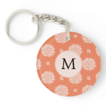 Personalized Monogram Coral Floral Pattern Keychain