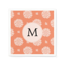 Personalized Monogram Coral Floral Pattern Paper Napkin