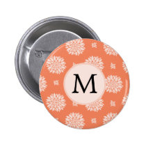 Personalized Monogram Coral Floral Pattern Pinback Button