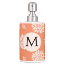 Personalized Monogram Coral Floral Pattern Soap Dispenser & Toothbrush Holder