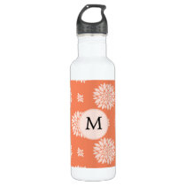 Personalized Monogram Coral Floral Pattern Stainless Steel Water Bottle