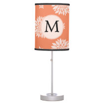 Personalized Monogram Coral Floral Pattern Table Lamp