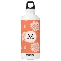 Personalized Monogram Coral Floral Pattern Water Bottle